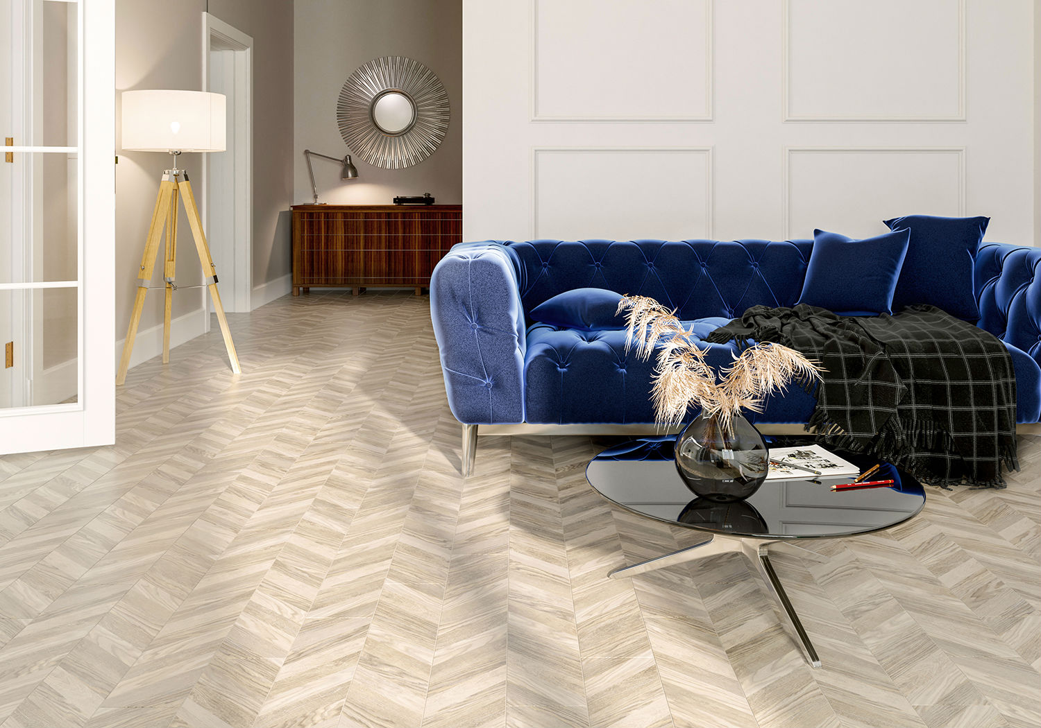 Golden Tile Wood Chevron